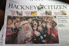 Clayton Wright on the front page of the Hackney Citizen