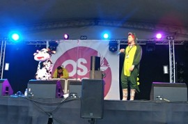 Clayton Wright and Katy Poulsom on stage in fancy dress