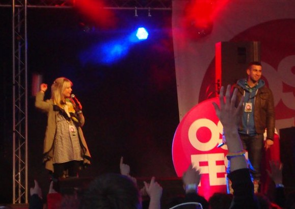 Clayton Wright and Katy Poulsom on stage