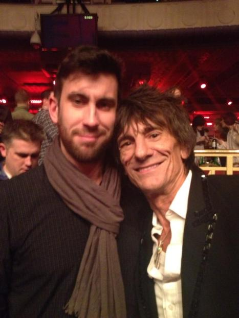 Clayton Wright at the NME Awards with Rolling Stone Ronnie Wood